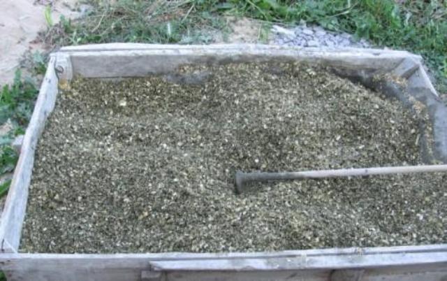 Приготовление опилочно-цементного раствора