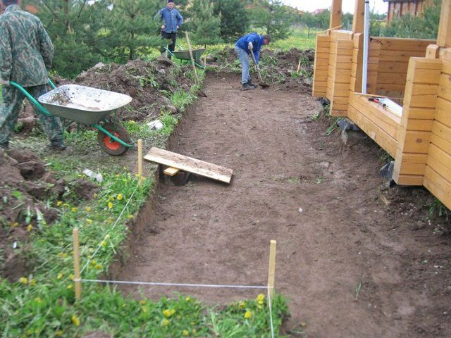 Разметка и подготовка площадки около дома