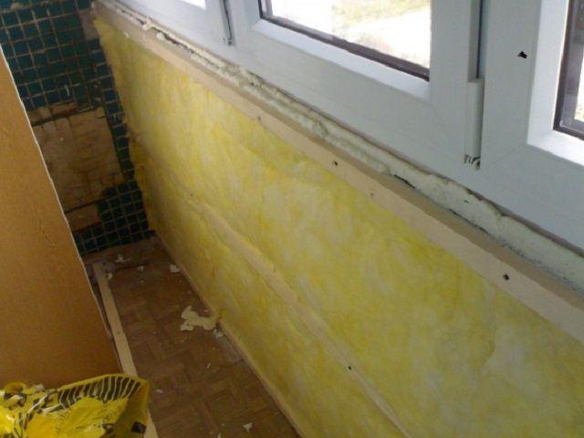 Стекловата в системе утепления балкона