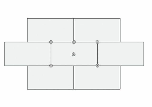 """Схема взаимного расположения панелей и дюбелей-""""грибков"""""""