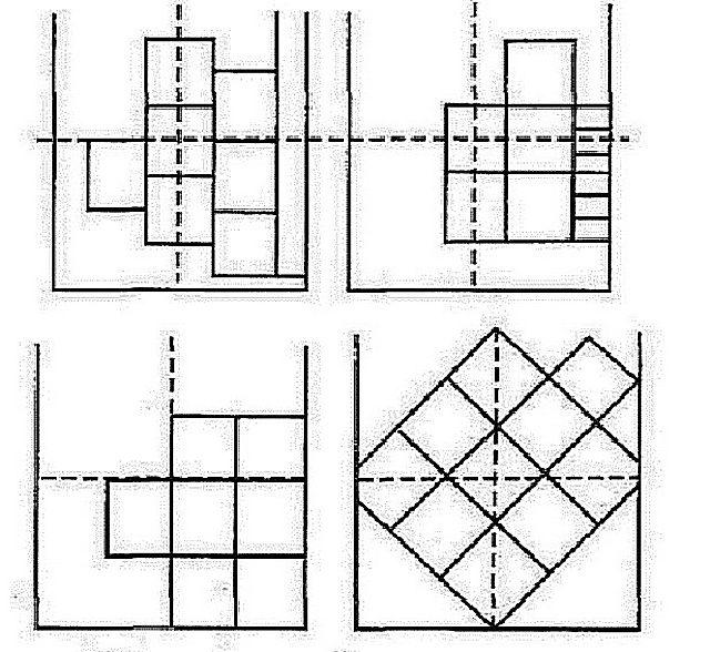 Несколько схем расположения потолочной плитки