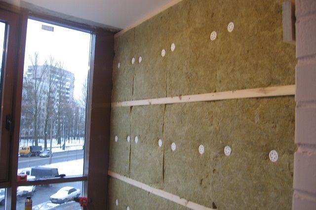 Стены балкона, утепленные каменной минватой