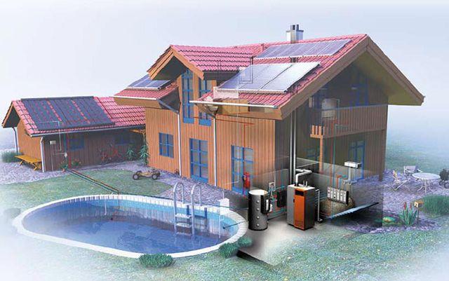 Солнечные коллекторы могут интегрироваться в систему отопления современного дома