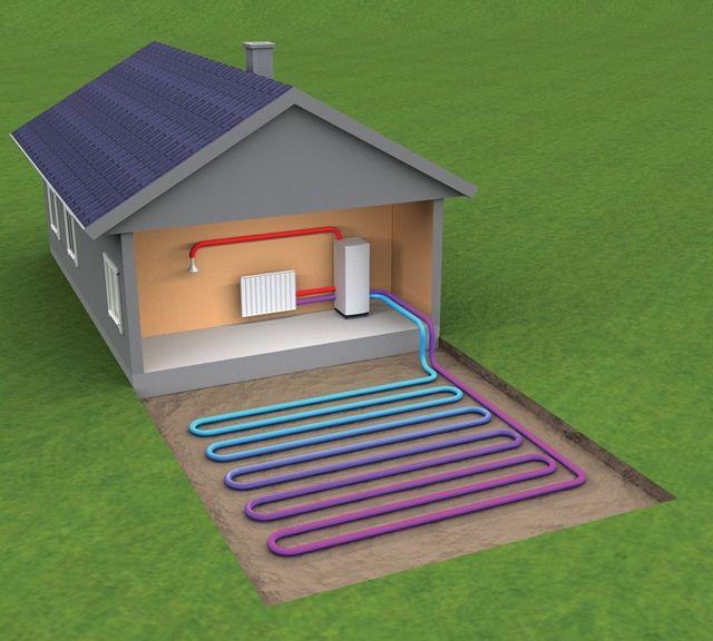 """Принципиальная схема отбора энергии """"грунт - вода"""""""