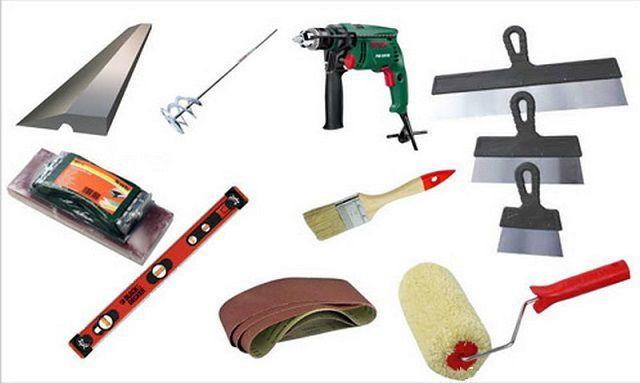 Инструменты для работ по шпатеванию стен