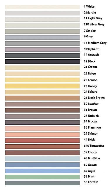 Спектр оттенков затирки для швов «Weber vetonit DECO»