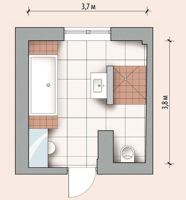 Возможная планировка в ванной