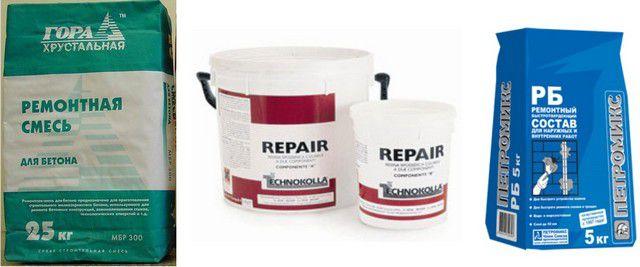 Примеры ремонтных составов для стен