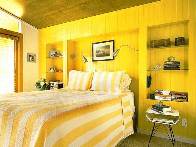 Яркие желтые цвета способны вызвать перевозбуждение нервной системы, затруднить полноценный отдых