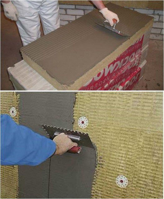 Блоки базальтового утеплителя можно монтировать на клей и оштукатуривать