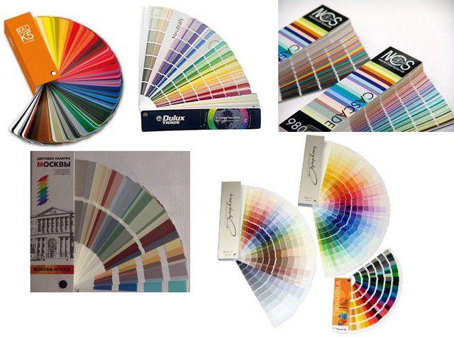 Образцы цветовых палитр нескольких стандартов