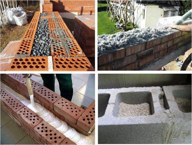 Варианты засыпки (заливки) утеплителей в полость стеновой конструкции