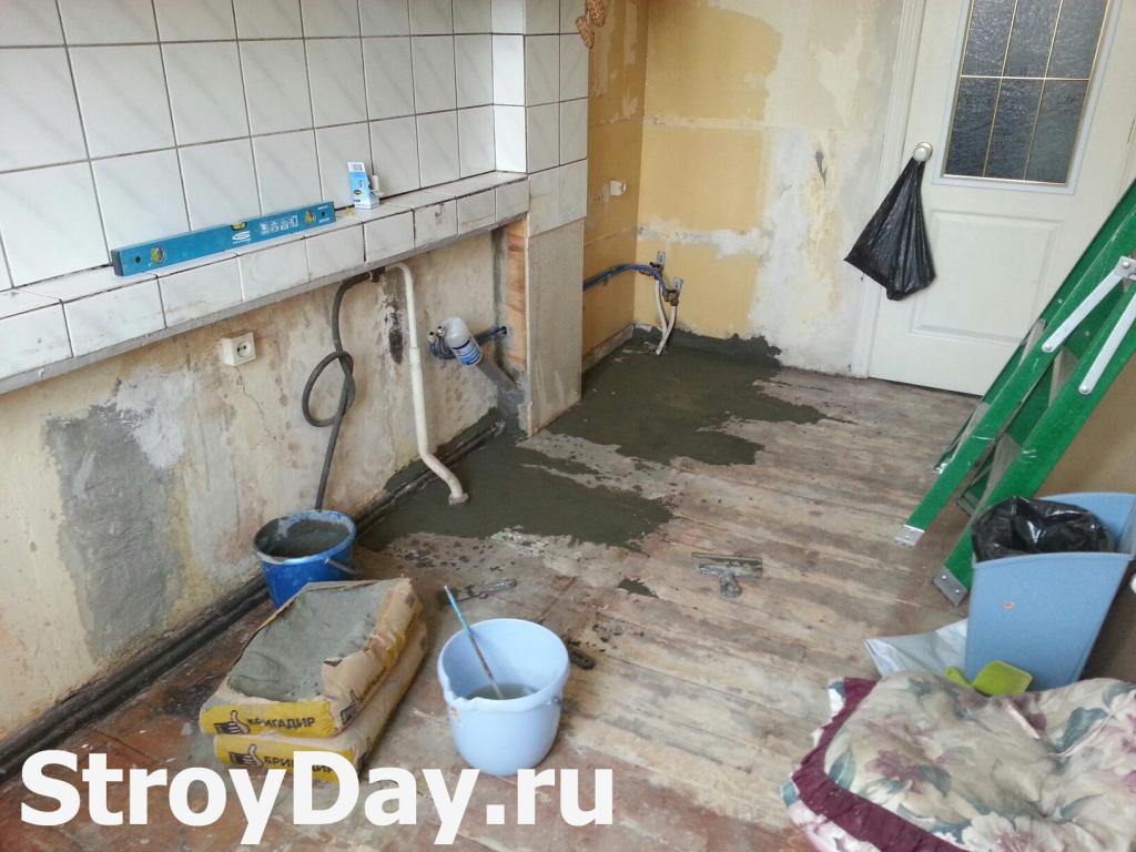 Дешевый ремонт напольного покрытия на кухне