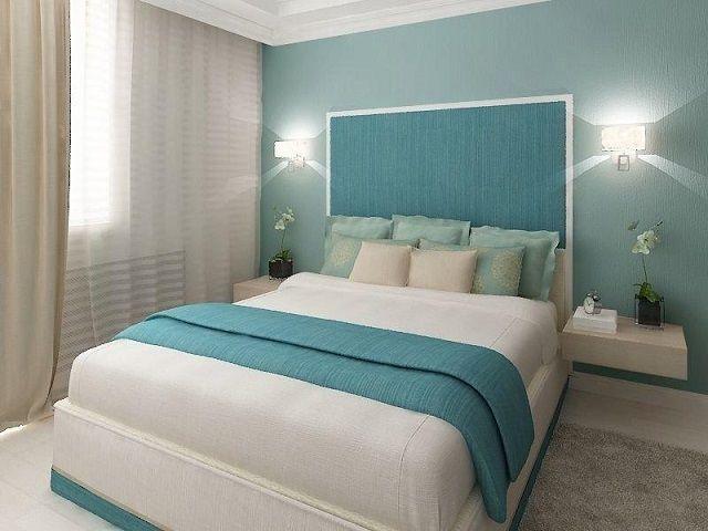 Оттенки синего будут хороши для спальной, расположенной  на солнечной стороне дома