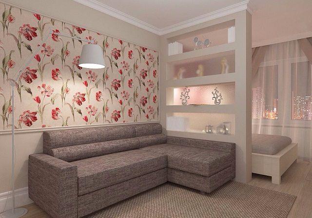 Дизайн комнаты с перегородкой для спальни