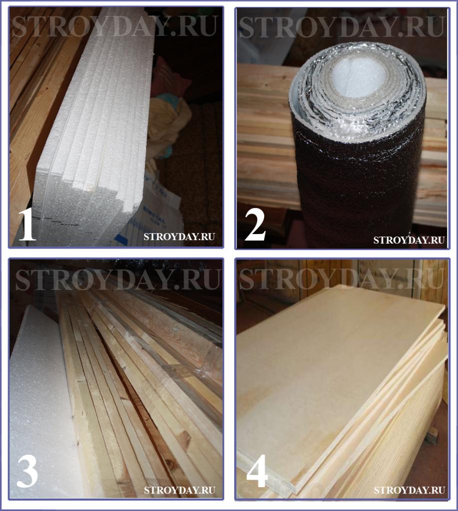 Группа необходимых материалов 3 - пенопласт, фанера, утеплитель, брус