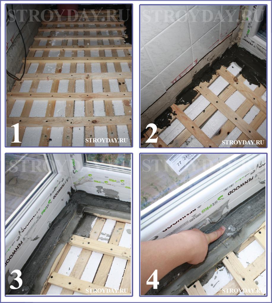 Замазываем щели в полу с помощью морозостойкого клея для кафельной плитки