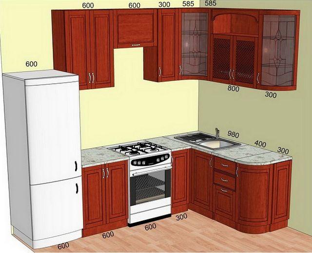Обычно производители кухонной мебели в  размерах отдельных предметов   гарнитуров придерживаются определенных стандартов