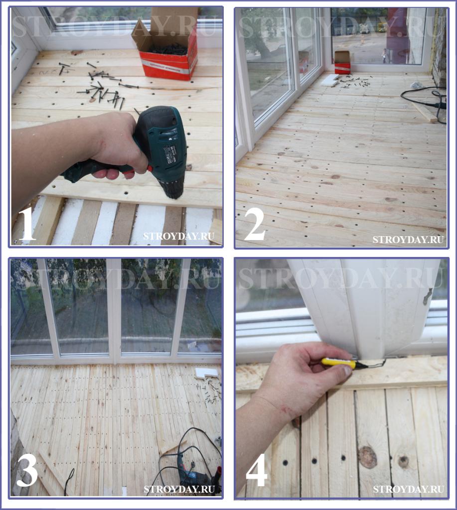 Монтаж армирующего пояса из деревянных реек