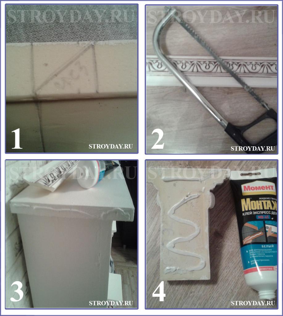 Процесс разметки и наклейки лепнины на камин