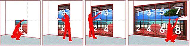 Возможный вариант наклеивания полотен фотообоев - от центра композиции к краям