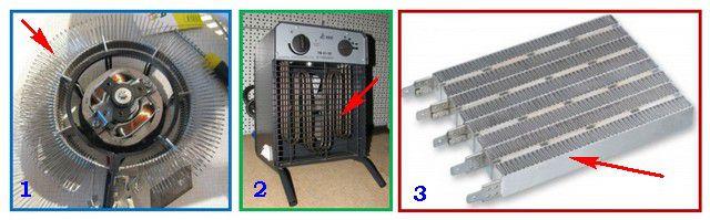 Различные типы нагревательных элементов тепловентиляторов