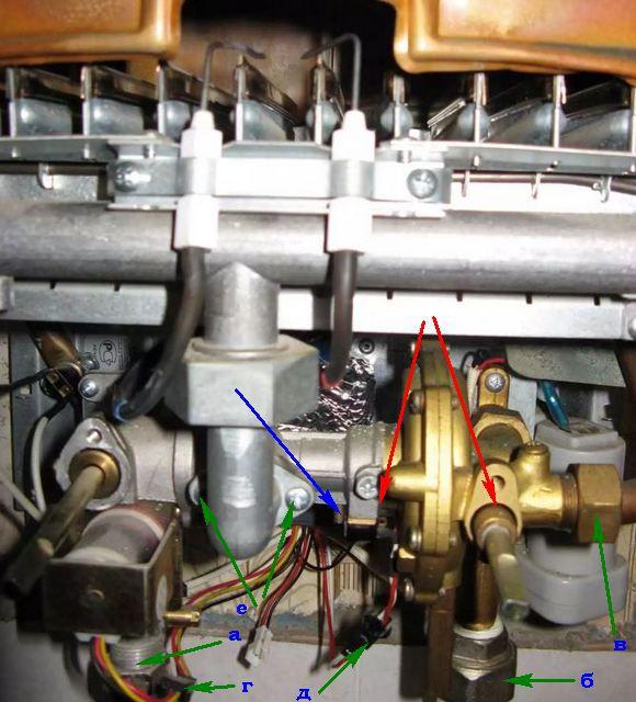 Порядок снятия водо-газового узла и возможные места протечек воды