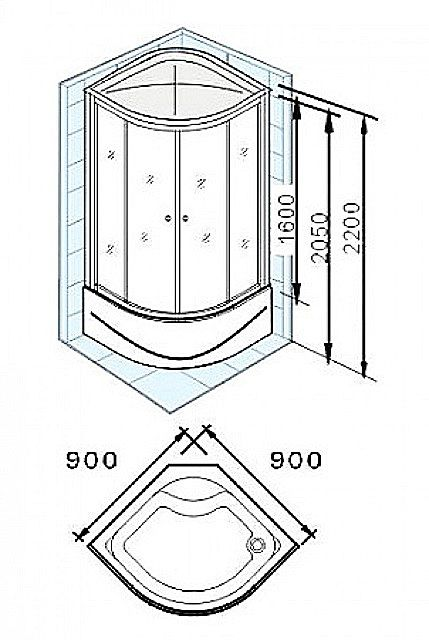 Сразу оценивается возможность установки душевой кабинки того или иного размера