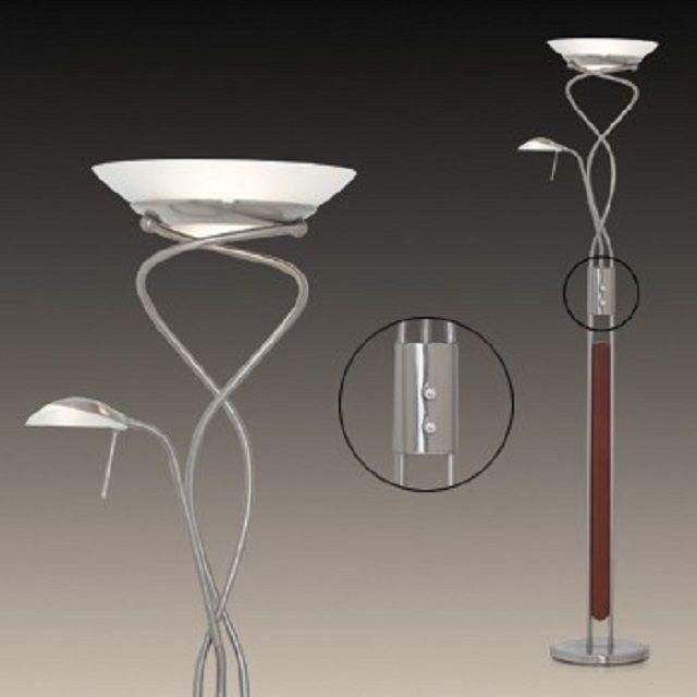 Светильник напольный  - торшер с двумя плафонами, в том числе - и для освещения потолка