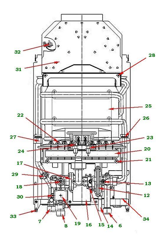 Схема устройства газовой колонки «Нева 4511»