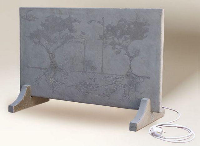 """Обогревательная керамическая панель """"под мрамор"""" на соотвествующей стилю оформления подставке"""