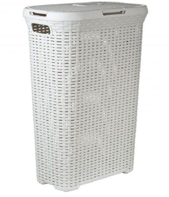 Высокая пластиковая корзина для белья