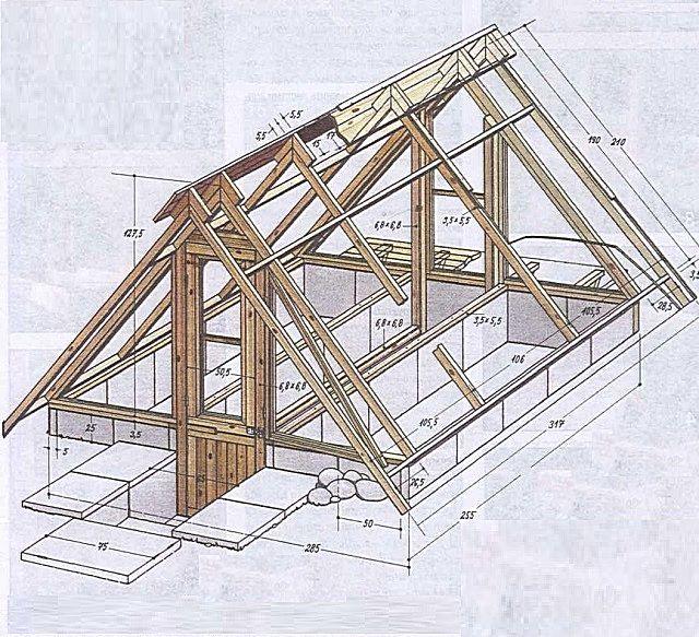 Примерная схема верхней деревянной конструкции заглубленной теплицы-термоса.
