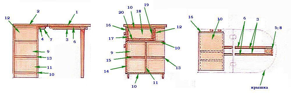 Схема стола с проставленными номерами сборочных деталей (иллюстрация кликабельна - нажмите для увеличения)