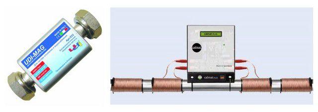 Устройства магнитного умягчения воды - с постоянными (слева) и электромагнитами