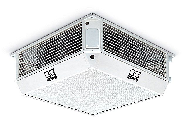 Мощные потолочные тепловентиляторы обычно устанавливаются в просторных общественных или производственных помещениях