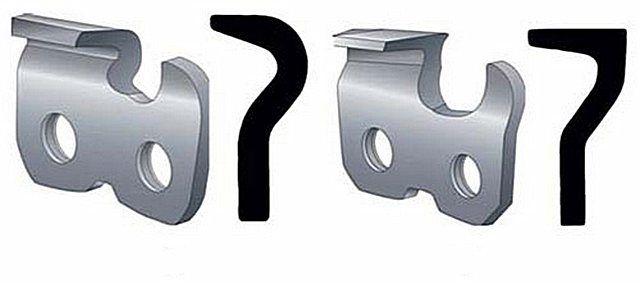 Чипперная (слева) и чизельная  форма режущих звеньев