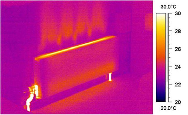 Характерная картина распределения отдаваемого тепла от панельного радиатора