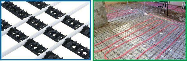 Для укладки контура придется устанавливать монтажные планки или подвязывать трубу к армирующей сетке