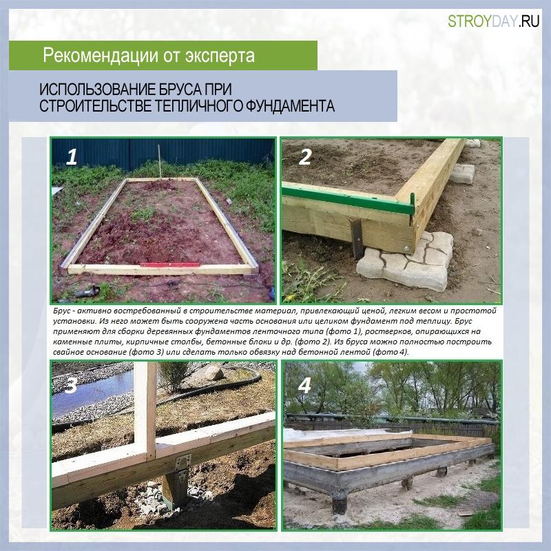 Использование бруса при строительстве тепличного фундамента