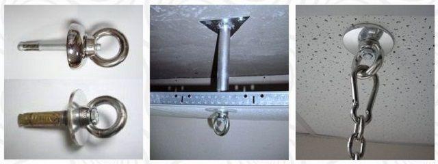 Установка специального крепления при подвесном потолке
