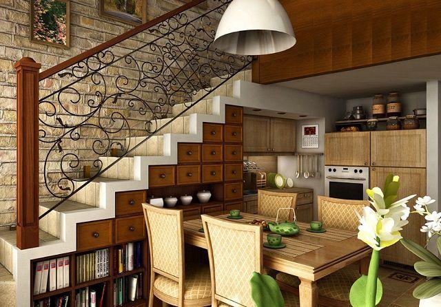 Пространство под лестницей стало вполне функциональной частью кухни