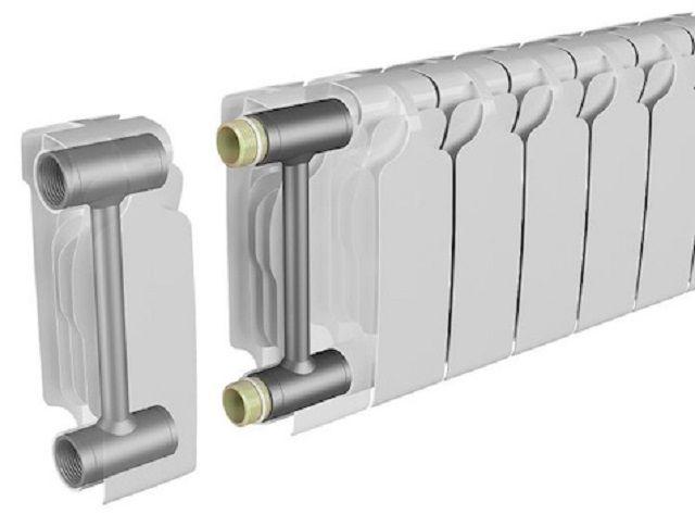 Биметаллическая батарея секционного, разборного типа