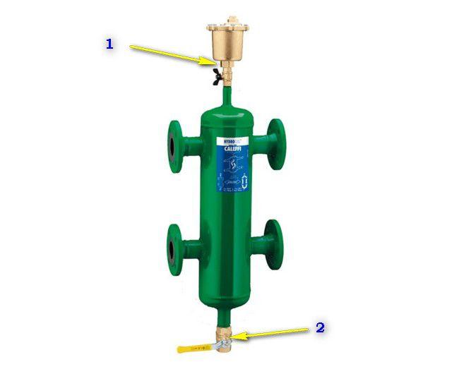 Возможные дополнительные функции гидрострелки - сепарация воздуха и очистка теплоносителя от твердых взвесей