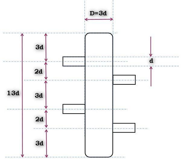 Схема с чередованием патрубков по высоте
