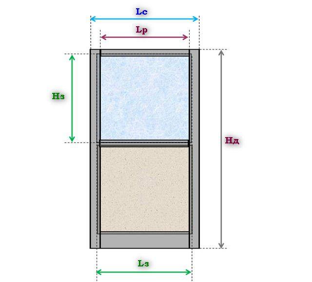 Схема размеров дверной створки