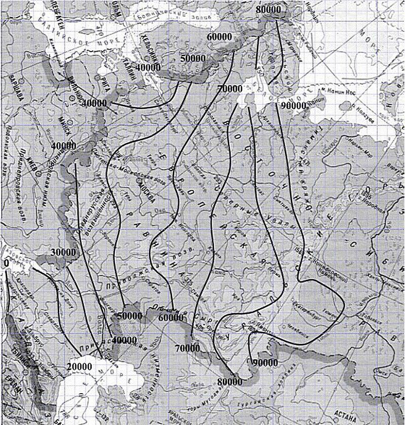 """Карта-схема с изотермами """"индекса мороза"""""""