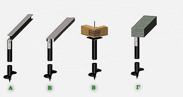 Несколько вариантов обвязки (ростверка) свайно-винтового фундамента