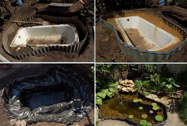 В качестве искусственного водоема может послужить старая ванна