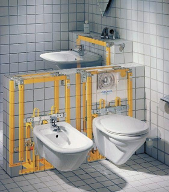 Инсталляцией называют каркасную систему, на которой, собственно, крепятся и сам унитаз, и все необходимые вспомогательные устройства и механизмы